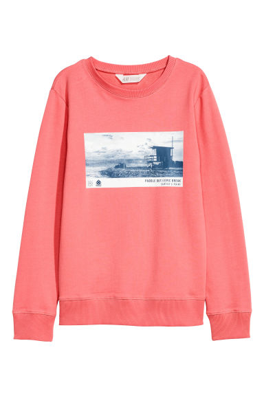 Sweat avec impression - Rose corail - ENFANT | H&M FR 1