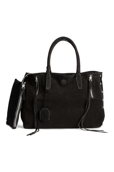 Suede shopper - Black - Ladies | H&M 1
