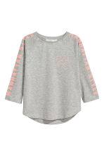 Printed jersey top - Grey marl - Kids | H&M 2