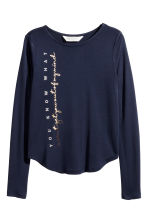 Long-sleeved top - Dark blue -  | H&M 2