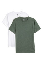 2-pack T-shirts Slim fit - Dark green/White -  | H&M CN 1