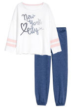 Jersey pyjamas - White/New York - Kids | H&M 1