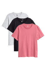 3-pack T-shirts Regular fit - Pink/Black -  | H&M CN 1