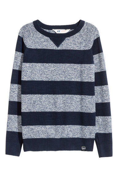 Fine-knit cotton jumper - Dark blue/Striped - Kids | H&M CN 1