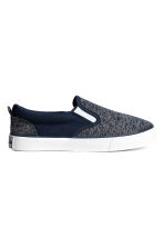 Slip-on canvas trainers - Dark blue marl - Kids | H&M 1