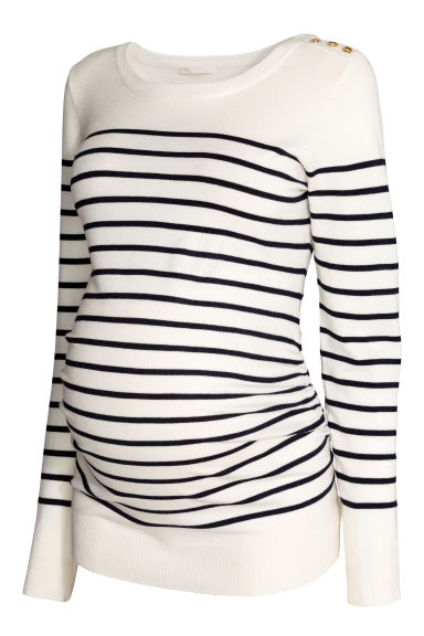 MAMA Fine-knit jumper - White/Striped - Ladies | H&M CN 1