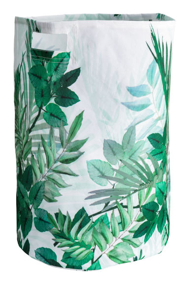 Patterned laundry basket - White/Leaves - Home All | H&M GB 1