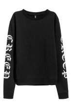 Printed sweatshirt - Black - Ladies | H&M 2