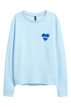 Printed sweatshirt - Light blue - Ladies | H&M CN 2