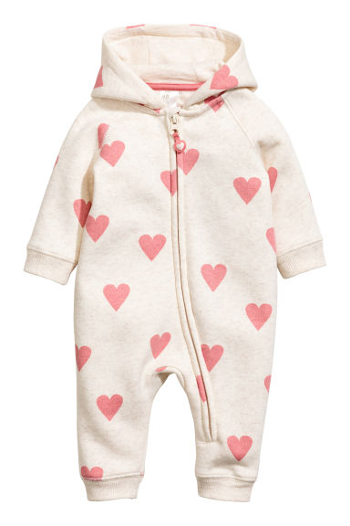 Sweatshirt all-in-one suit - Natural white/Heart - Kids | H&M