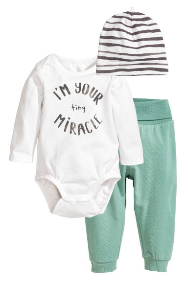 Bodysuit with trousers and hat - White/Mint green -  | H&M CN