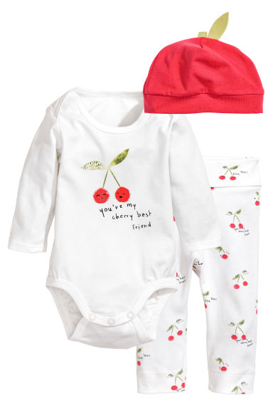 Bodysuit with trousers and hat - White/Cherry -  | H&M
