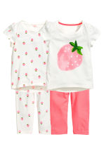 Pigiami in jersey, 2 pz - Bianco/fragole -  | H&M IT 1