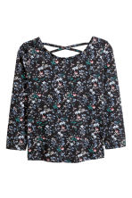 長袖上衣 - Black/Floral - Kids | H&M 1