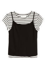 2-in-1 top - Zwart/wit -  | H&M BE 2