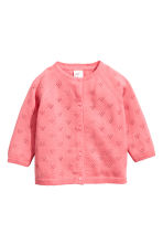 Fine-knit cotton cardigan - Coral pink -  | H&M 1