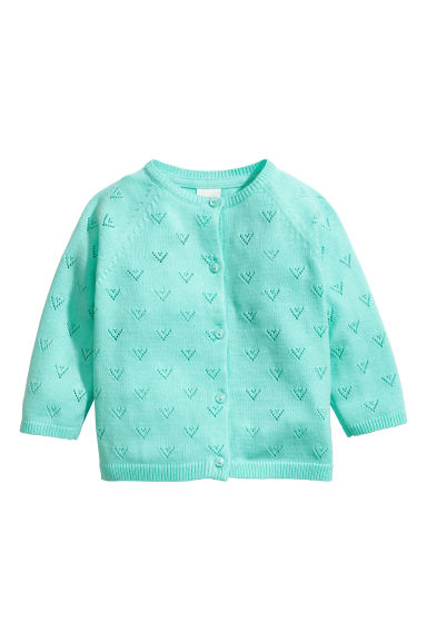Fine-knit cotton cardigan - Turquoise -  | H&M