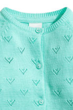 Fine-knit cotton cardigan - Turquoise -  | H&M CN 2