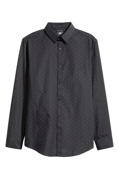 Easy-iron shirt Slim fit - Black/Patterned - Men | H&M IE 1