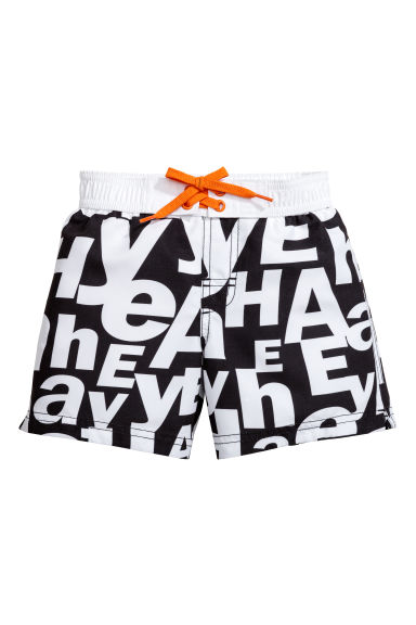 Patterned swim shorts - Black/White - Kids | H&M CN