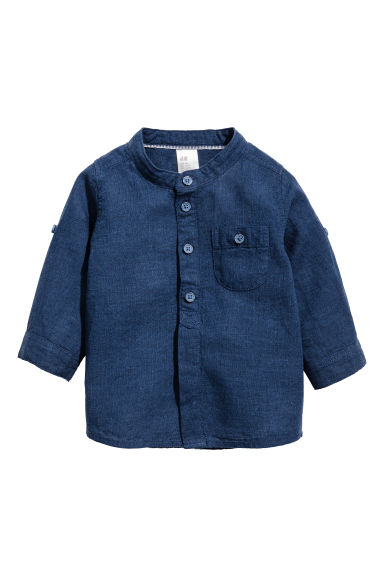 Linen-blend shirt - Dark blue - Kids | H&M CN