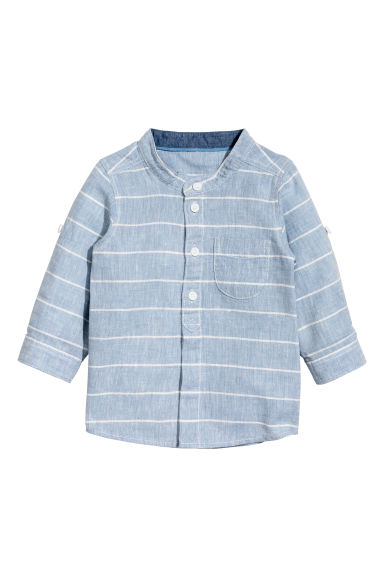 Linen-blend shirt - Blue/Striped - Kids | H&M 1
