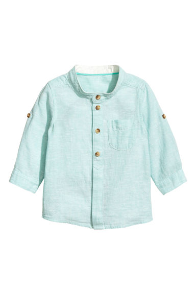 Linen-blend shirt - Mint green marl - Kids | H&M 1