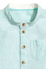 Linen-blend shirt - Mint green marl - Kids | H&M 4