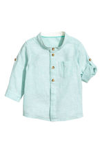 Linen-blend shirt - Mint green marl - Kids | H&M 2