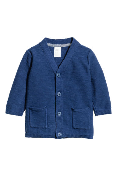 Fine-knit cardigan - Dark blue marl - Kids | H&M 1