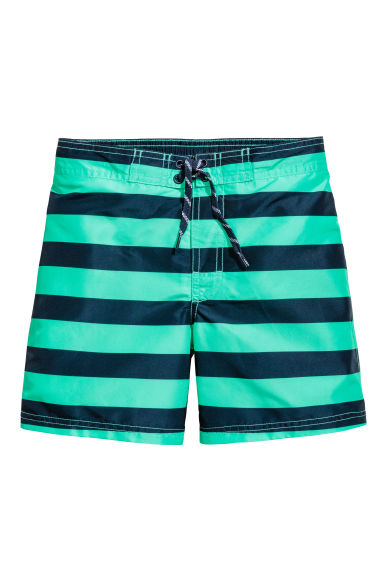 Patterned swim shorts - Mint green/Striped - Kids | H&M 1