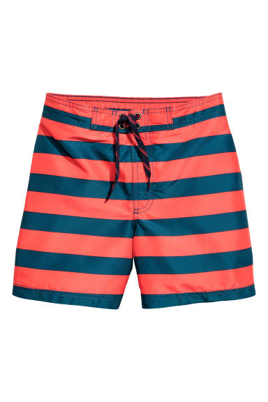 Patterned swim shorts - Coral red/Striped - Kids | H&M CN