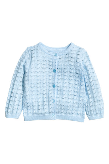 Lace-knit cardigan - Light blue - Kids | H&M 1