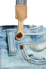 Denim shorts with braces - Light denim blue -  | H&M 4