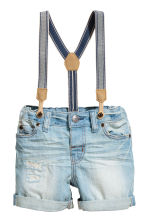 Denim shorts with braces - Light denim blue -  | H&M CA 1