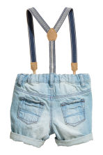 Denim shorts with braces - Light denim blue -  | H&M 2