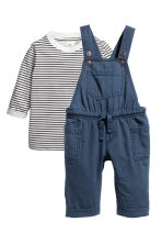 T-shirt and dungarees - Dark blue -  | H&M 1