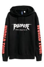 Printed hooded top - Black/Justin Bieber - Men | H&M 2