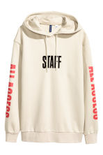 Printed hooded top - Light beige/Justin Bieber - Men | H&M 2