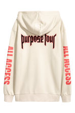 Printed hooded top - Light beige/Justin Bieber - Men | H&M 3