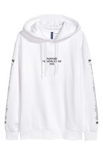 Printed hooded top - White/Justin Bieber - Men | H&M GB 2