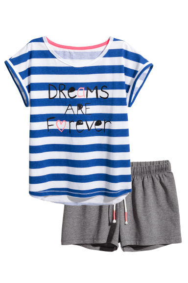 Jersey pyjamas - Bright blue/Striped - Kids | H&M 1