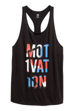 Sports vest top - Black/Text print - Ladies | H&M 2