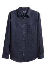 Linen shirt Relaxed fit - Dark blue - Men | H&M 2