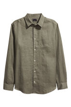 Linen shirt Relaxed fit - Khaki green - Men | H&M 2