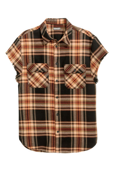 Short-sleeved cotton shirt - Brown/Checked - Men | H&M 1