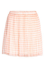 Pleated chiffon skirt - Powder pink/Checked -  | H&M 2