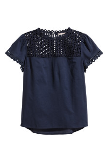 H&M+ Embroidered cotton blouse