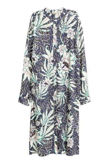 H&M+ Patterned shirt dress - Grey/Floral -  | H&M 1