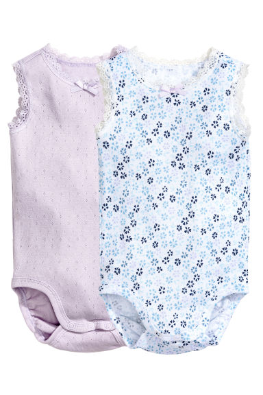2-pack sleeveless bodysuits - Lilac - Kids | H&M CN 1